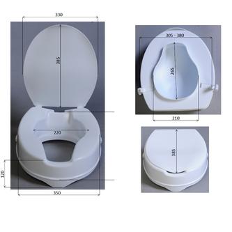 Sitzerhöhung für WC-Sitze, 10 cm, ohne Haltegriffe, weiß