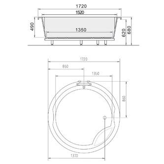 ROYAL ROUND Badewanne mit Rahmengestell 172x172x49cm weiß