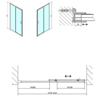 EASY LINE Duschtür 1500mm, Klarglas