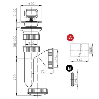 Spülen-Siphon, Stopfen mit Ring Abfluss 50mm, Kunstsfoff
