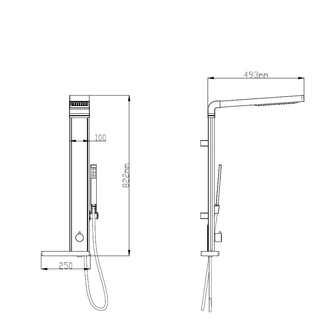 ROME Duschsäule, H. 822mm, Alumium