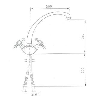 ANTEA Küchenarmatur, Höhe 265mm, Chrom / Gold