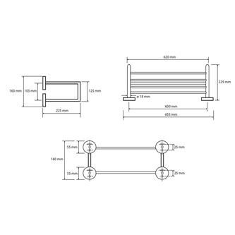 X-ROUND Handtuchregal 2-Fach, 650mm, Chrom