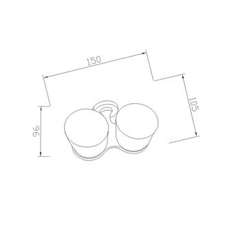 SAMBA Doppelglashalter, Milchglas, schwarz