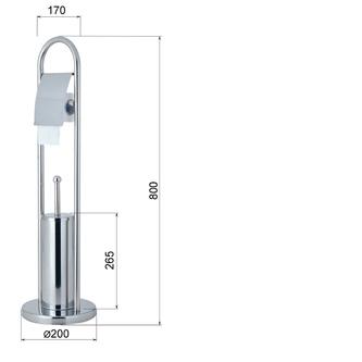 SAMBA Ständer mit WC-Bürste und Toilettenpapierhalter, Chrom