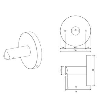 Adapter für direkten Anschluss in die Wand, für Rundprofile, schwarz