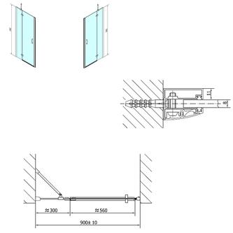 VITRA LINE Duschtür 900mm, links, Klarglas