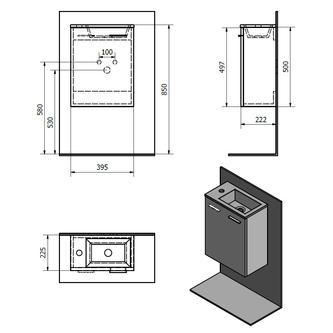 ZOJA Unterschrank 39,5x50x22cm, Platineiche