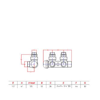 TWIN Thermostat-Anschlusset für Mittelanschluss, Chrom