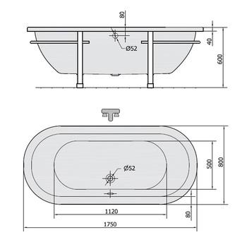 MATRIX L freistehende Badewanne 175x80x46cm, weiß