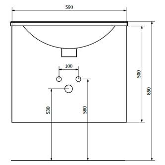 KALI Unterschrank 59x50x45cm, weiß