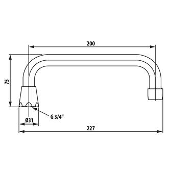 Wasserauslauf, 20cm, U-Form, Chrom