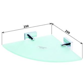 X-SQUARE Glasablage für die Ecke 250x55x250mm, Chrom
