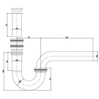 Waschtisch-Siphon 5/4', Durchmesser 32mm, Chrom