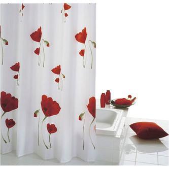 MOHN Duschvorhang, 180x200cm, Textil, rot-weiß