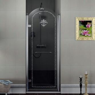 ANTIQUE Duschtür 800 mm, Klarglas mit Dekor, links, Chrom