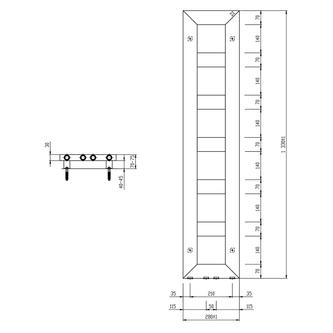 BLOCK Badheizkörper 280x1330 mm, schwarz matt
