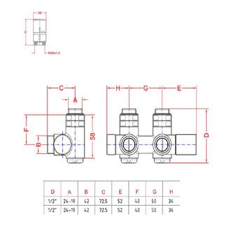 TWIN COMBI Thermostat-Anschlusset für Mittelanschluss, gebürsteter Edelstahl