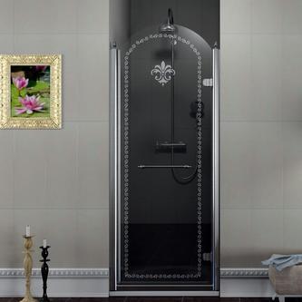 ANTIQUE Duschtür 800 mm, Klarglas mit Dekor, rechts, Chrom