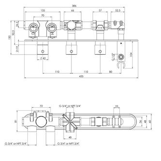 Unterputz-Armatur mit Brausehalter, 2 Wege, rund, Chrom