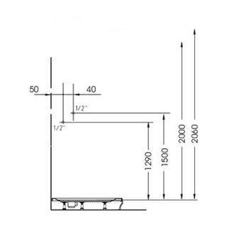 MOLA Duschpaneel 210x1300mm, mit Thermostat-Armatur, Eckmontage