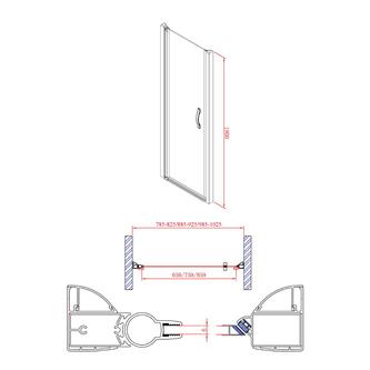 ONE Duschtür für Nische 1000 mm, Klarglas