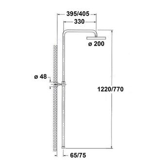 CORNELLI Duschsäule für Badewanne ohne Armatur (für CE10S), Chrom