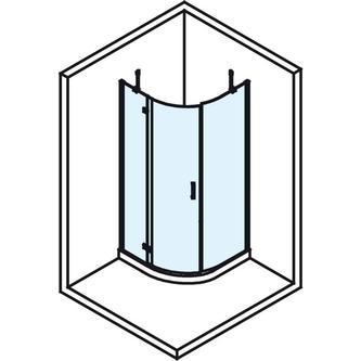 VITRA LINE Duschabtrennung, Viertelkreis 800x800mm, R550, links, Klarglas