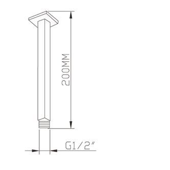 Decken-Duscharm, quadratisch, 200 mm, Chrom