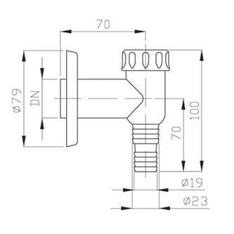 Waschmaschinensiphon, Abfluss 32mm, Chrom