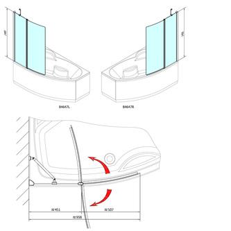 TARUS Duschabtrennung 960mm, Klarglas