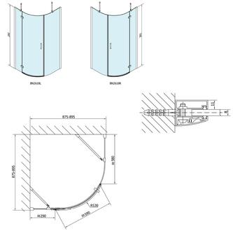 VITRA LINE Duschabtrennung Viertelkreis 900x900mm, R550, rechts, Klarglas
