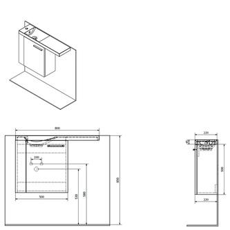 LATUS VI Unterschrank 50x50x22 cm, links, Kiefer Rustikal