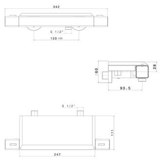 NOTOS Thermostat-Duscharmatur mit Seifenschale, Chrom