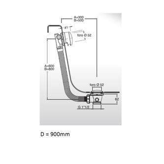 Ablaufgarnitur mit Einlauf, klick-klack, Länge 900mm, Stopfen 72mm, Chrom