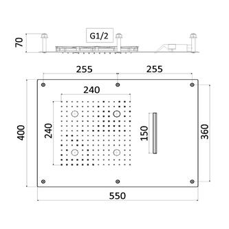 CHROMOTHERAPIE Kopfbrause 550x400mm, Regen, Kaskade, Steuerungstyp C, Edelstahl