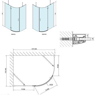 VITRA LINE Duschabtrennung,Viertelkreis 1000x800mm, R550, rechts, Klarglas