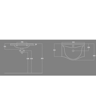 ZARA 65 Waschtisch 64,5x46cm
