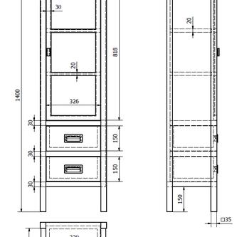 BRAND Schrank 40x140x30cm, 2x Schublade, Glastür, links, altweiß