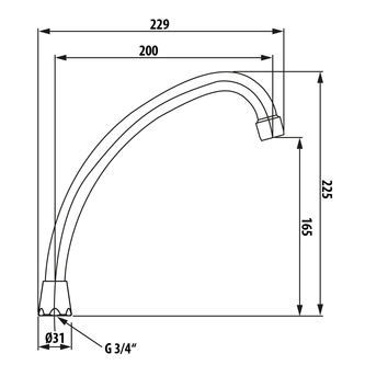 Wasserauslauf, 20cm, J-Form, Chrom