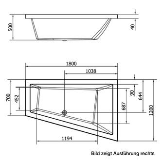 Raumspar Badewanne TRIANGL 180x120x50cm, links, weiß