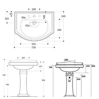 RETRO Keramik-Säule für Waschtische 56,69,73