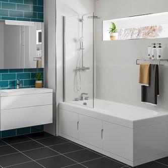 Sylvi Badewanne 167,5x76,5cm mit Einbauschrank und Duschkabine, Links