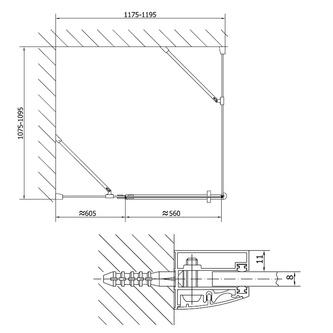 VITRA LINE Duschabtrennung Rechteck,Ecke abgerundet 1200x800mm,links, Klarglas