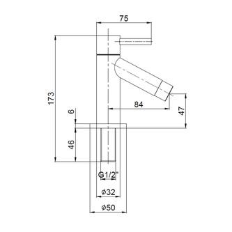 Waschtischventil, 1/2´´, 124 mm, Chrom