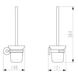 X-ROUND Wand WC-Bürste, Glas satiniert, schwarz