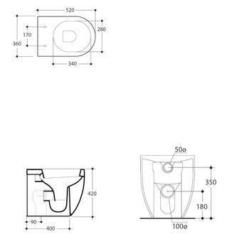 FLO WC Becken 36x42x51,5cm, Abgang senkrecht/waagerecht
