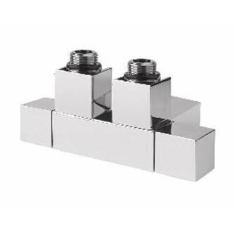 CUBE TWIN Badheizkörper-Anschlussgarnitur für Mittelanschluss,50mm, gebürst.Edelstahl