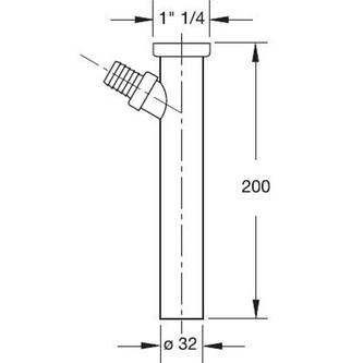 Verlängerungsstück mit Abzweig 1'1/4, Abfluss 32mm, Länge 200mm, Chrom