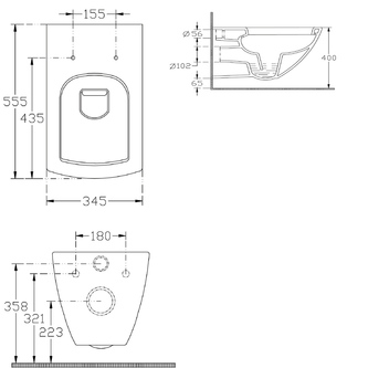 PURITY Hänge-WC 35x55,5cm, weiss